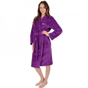 Personalised Coral Fleece Gown-Plum