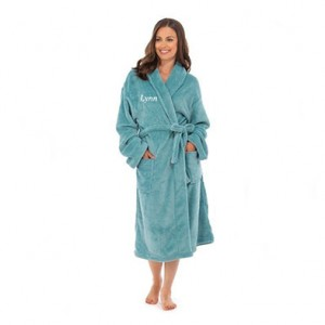 Personalised Coral Fleece Gown-Turquoise